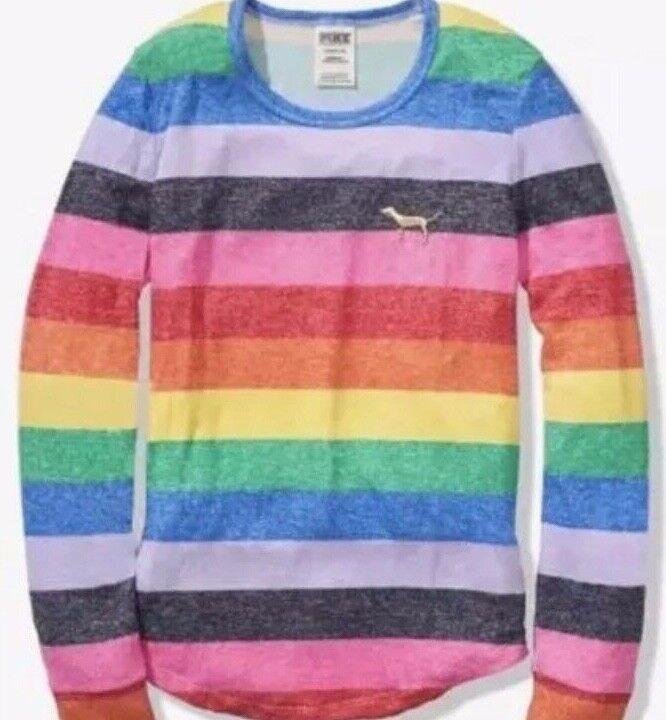 Victoria Secret Pink Cozy Jersey Rainbow Pajama Top MED