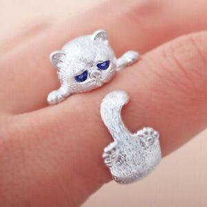 Encantador-Ojos-De-Cristal-Azules-Anillo-Abierto-Para-Gato-Plateado-Joyeria
