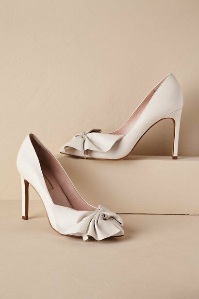 BHLDN PUMPS 8.5 VERSATILE TERRACE BOW LEATHER IVORY BRIDAL SOLD OUT 158 EUC