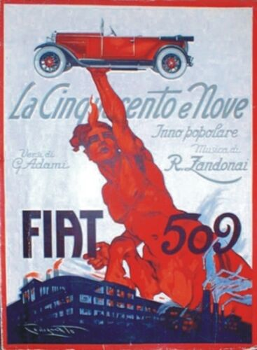 "TARGA VINTAGE /""1925 AUTO FIAT 509/""PUBBLICITA/' EPOCA,CAR ADVERTISING,POSTER,PLATE"