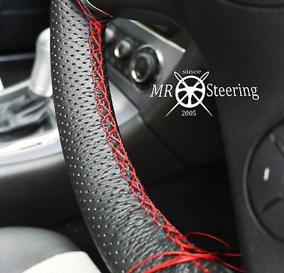 FOR BMW E87 1 SERIES 04-12 GENUINE LEATHER STEERING WHEEL COVER WITH BLACK STRAP