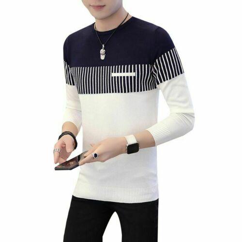Neck Men/'s Coat Sweater Jumper Tops Casual Strip Knitwear Pullover Warm Round
