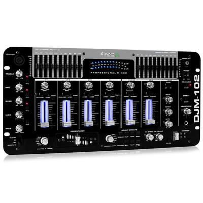 (Ricondizionato) Ibiza Mixer Professionale 4 Canali Dj Set Rack Equalizzatore Ef