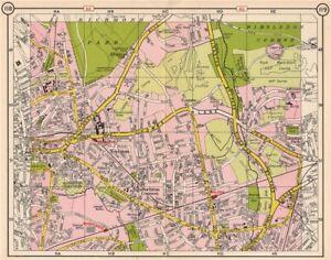 SW LONDON. Kingston Coombe Norbiton New Malden Berrylands Wimbledon 1953 map