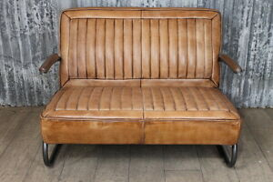 TWO SEATER LEATHER CAR SEAT STYLE SOFA VINTAGE INSPIRED TAN