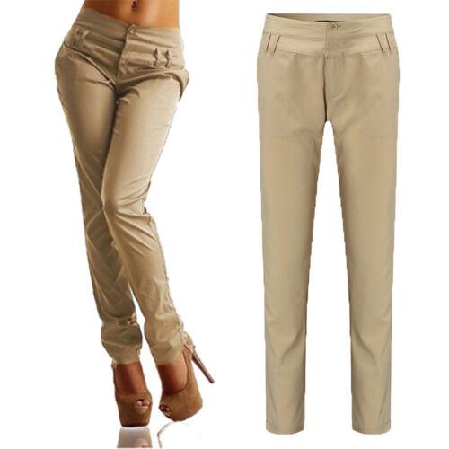 Women High Waist Plain Trousers Straight Leg Chinos Pants Ladies Office OL Work