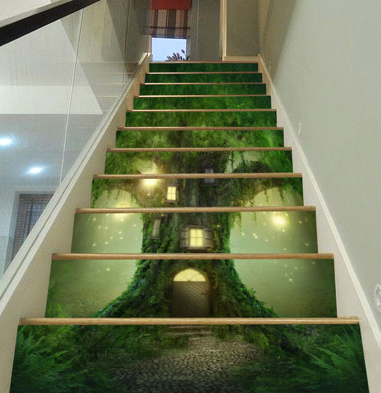 3D Baum Haus 583 Stair Risers Dekoration Fototapete Vinyl Aufkleber Tapete DE