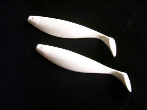 "9/""  WHITE  Plastic Shad Bodies//  5 per pack"