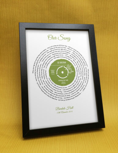 Our Song personalised gift for her him coupleAnniversary presentAny lyrics