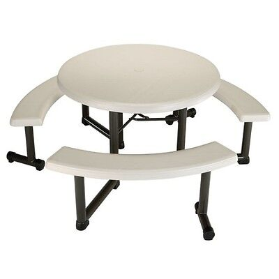 Lifetime Picnic Table 22127 44-inch Round Top Swivel Benches Almond Color Top