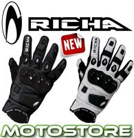 RICHA ROCK BLACK WHITE SHORT SPORTS LEATHER MOTORCYCLE MOTORBIKE SUMMER GLOVES