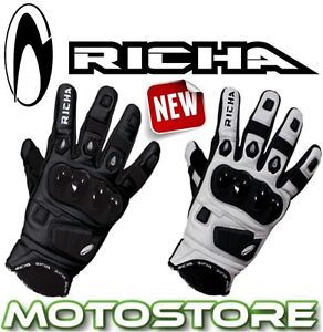 RICHA-ROCK-BLACK-WHITE-SHORT-SPORTS-LEATHER-MOTORCYCLE-MOTORBIKE-SUMMER-GLOVES