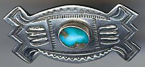 HANDSOME SMALL VINTAGE NAVAJO INDIAN STAMPED SILVER TURQUOISE PIN BROOCH