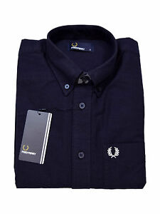 M3254 5446 248 Navy Langarm Down Fred Perry Hemd Button zYXX8q