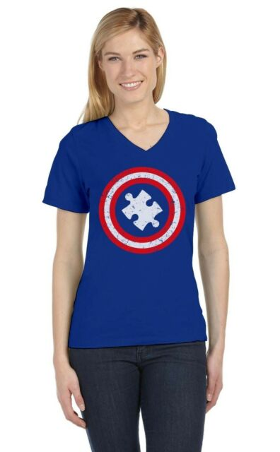 Autism Awareness - Captain Autism V-Neck Women T-Shirt Support The Cause