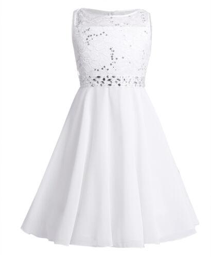 Flower Girls Dress Princess Party Lace Chiffon Bridesmaid Wedding Gown Prom Ball