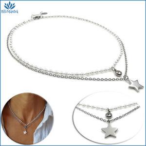 Collana donna multifilo perle con stella girocollo acciaio stellina collanina a