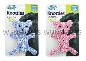 PET-BRANDS-KNOTTIES-BEAR-DOG-PUPPY-DENTAL-FLOSS-TOUGH-ROPE-CHEW-TOY-2-COLOURS