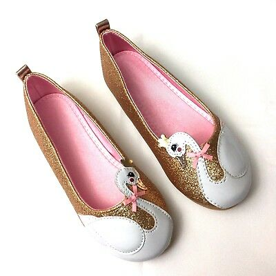 H&M girls flats size 10.5 pink gold glitter princess swan shoes