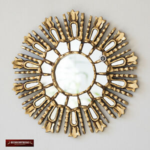 Gold Small Sunburst Mirror 11 8 From Peru Hand Carved Round Mirror Wall Decor Ebay