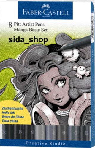 Faber-Castell Tuschestift schwarz PITT artist pen Manga Black Set 8er Etui NEU