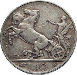 1927-ITALY-King-Victor-Emmanuel-III-HORSES-Silver-Italian-10-Lire-Coin-i74078