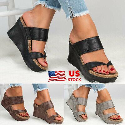 Womens Slip on Mules Sliders Cushioned Ladies Low Wedge Heel Sandals Shoes 3-6.5