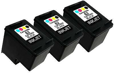3PK FOR HP 62 HP62 C2P04AN OFFICEJET 5743 ALL-IN-ONE 5744 8040 8045 20 MOBILE