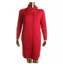 Calvin Klein Womens Pink Cable Knit FUNNEL NECK Sweaterdress Plus 3X