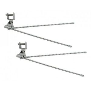 Street-Rod-Curb-Feelers-Chrome-Flex-Wire-w-Clamps-amp-Hardware-UNIVERSAL