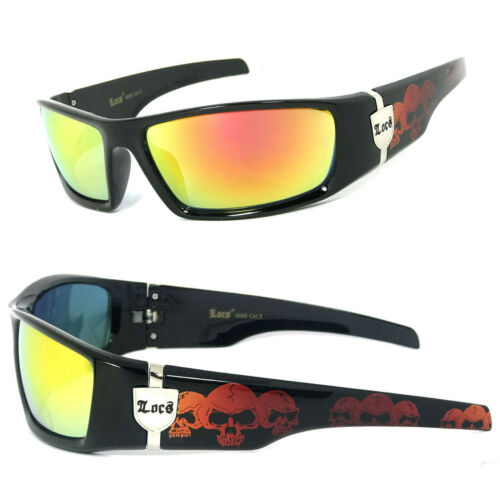 Locs Authentic Sunglasses Red Fire Lenses Motorcycle OG Style Skull Temples