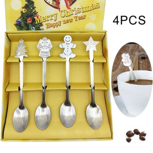 4pcs//set Cuiller à Café Vaisselle de Noël en acier inoxydable thé crème glacée cuillères