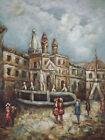 Quadro Dipinto Olio Su Tela Città Europea Spagna Italia Francia Originale
