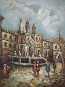 Toile-Peinture-Huile-Vieille-Ville-Europeenne-Art-Original-Espagne-Italie-France