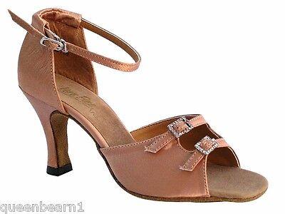 1620 Brown Satin Ballroom Salsa Mambo Latin Dance Shoes heel 3 Size 5