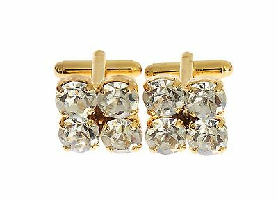 NEW $280 DOLCE /& GABBANA Cufflink Gold Brass Clear Crystal Mens Shirt Accessory