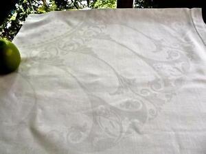 "Antique White Damask Nouveau Scrolls Linen 45""Sq Tablecloth Topper Hemstitched"