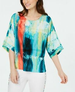Alfani-Top-Scoop-Neck-3-4-Sleeves-Striped-Abstract-Multi-Size-XL-NEW-NWT-337