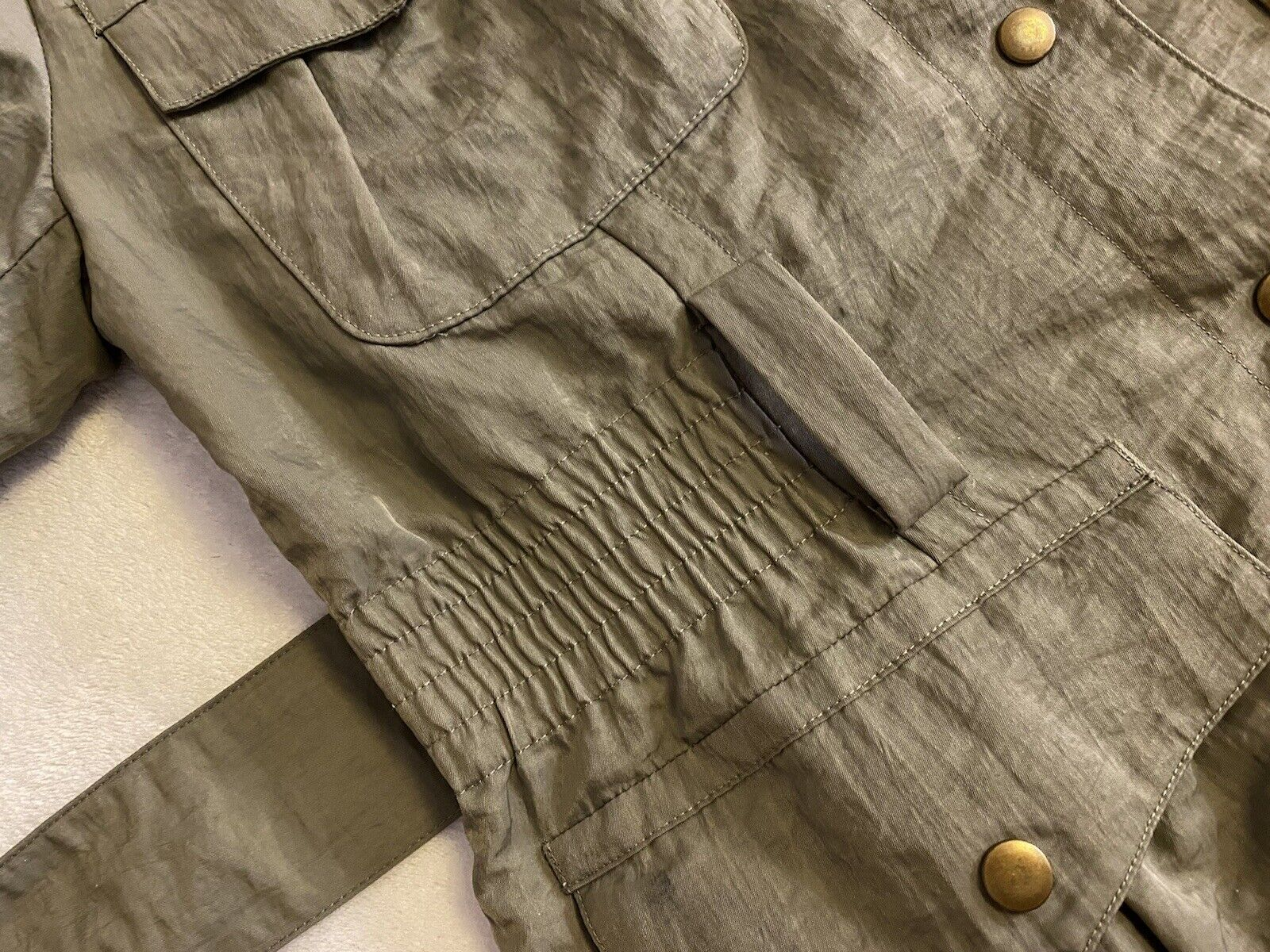 J Jill Olive Green SILKY BELTED Military TRENCH C… - image 11