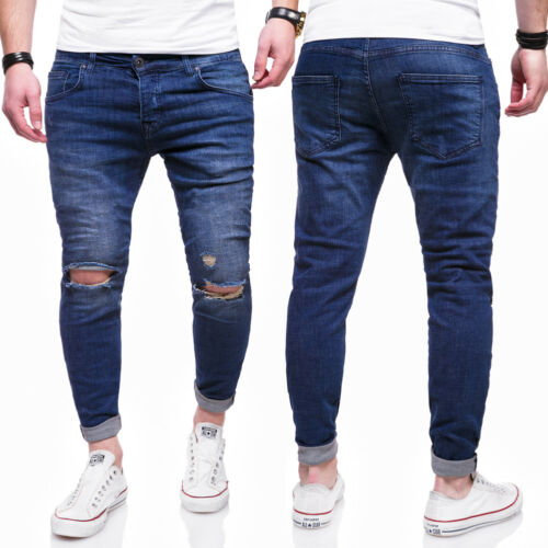 Behype Uomo Jeans Destroyed Jeans A Sigaretta Slim Fit Pantaloni Chino Blu//Nero NUOVO