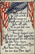 American Flag Border WHO WILL WORK FOR RIGHT & TRUTH c1910 Postcard