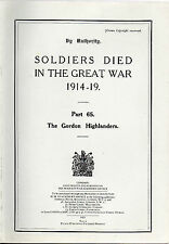 BARGAIN PRICE BOOK -SOLDIERS DIED IN THE GREAT WAR - THE GORDON HIGHLANDERS