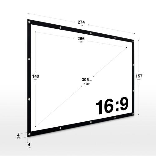 "16:9 ESMART GERMANY serraggio-tela spanmi 266 x 149 cm 120/"""