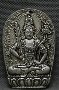 Old-China-Dynasty-Miao-Silver-Guan-Yin-Akashagarbha-Bodhisattva-Pendant-Amulet