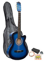 Blue Acoustic Electric Cutaway Guitar With Carry Case, Straps, Tuner, Plectrum on sale