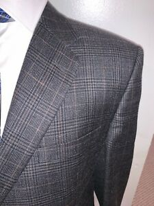 Hickey Freeman Nordstrom 44R Gray Plaid Blazer Sport Coat Single Vent 2 Btn