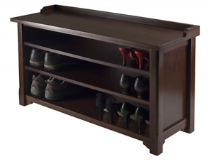Shoe Storage Bench Wood Cabinet With 3 Shelves For Entryway Hall Mudroom Seating