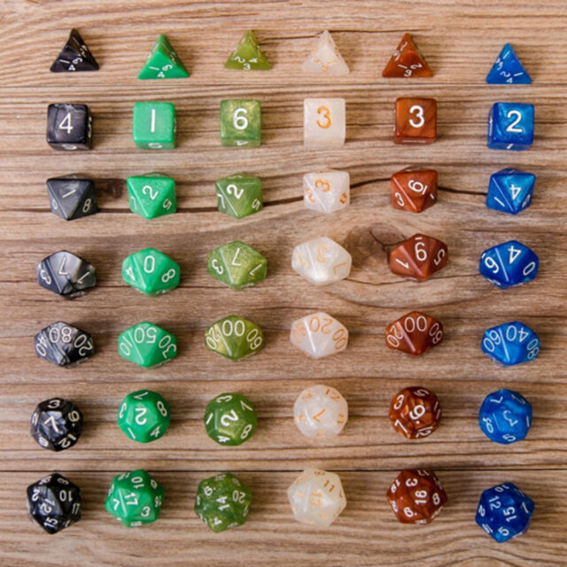 7Pcs D10 Multi-Sided Gem Dice Die for RPG Dungeons & Dragons DND D&D Game SetLJ