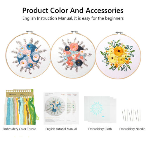 HANDCRAFT EMBROIDERY STARTER CROSS STITCH NEEDLE SEWING THREAD HOOP FRAME KIT D