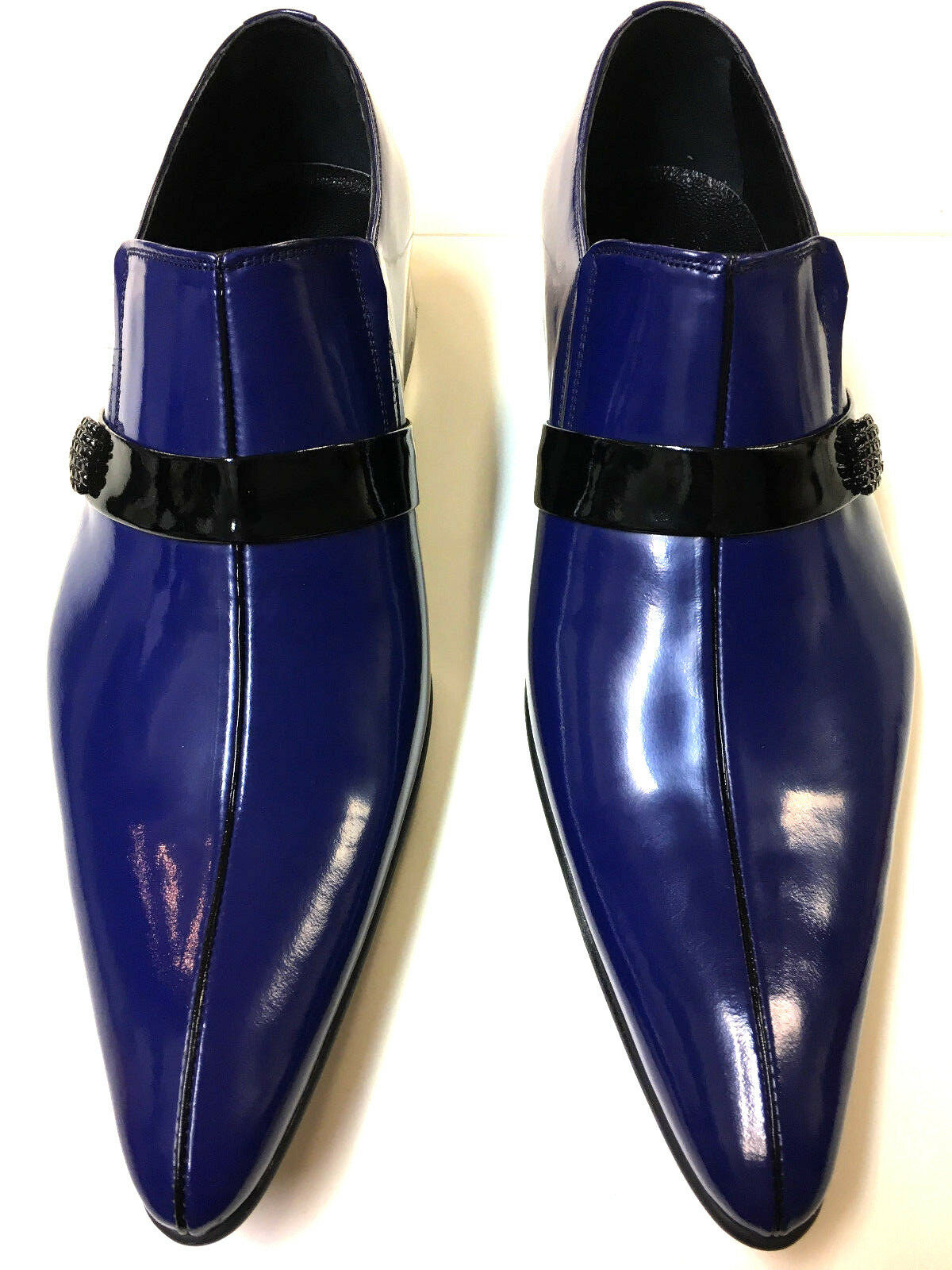 Chelsy excentrique Cuir Cuir excentrique Hommes Chaussure cuir slipper bleu cuir semelle pièce unique 44 71739b